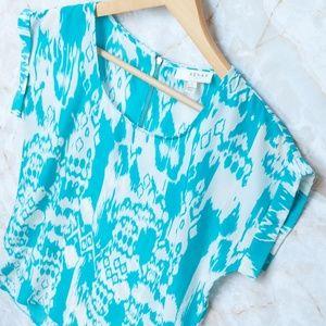 Aqua Blue and White Blouse by Kenar Zipper Back